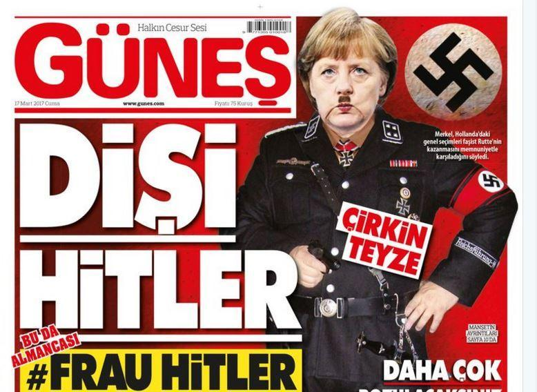 The Turkish tabloid has depicted the German Chancellor as Hitler