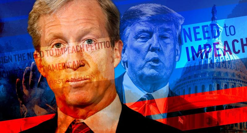 Tom Steyer and Donald Trump: Photo illustration: Yahoo News; photos: photos: AP (2), Getty Images)