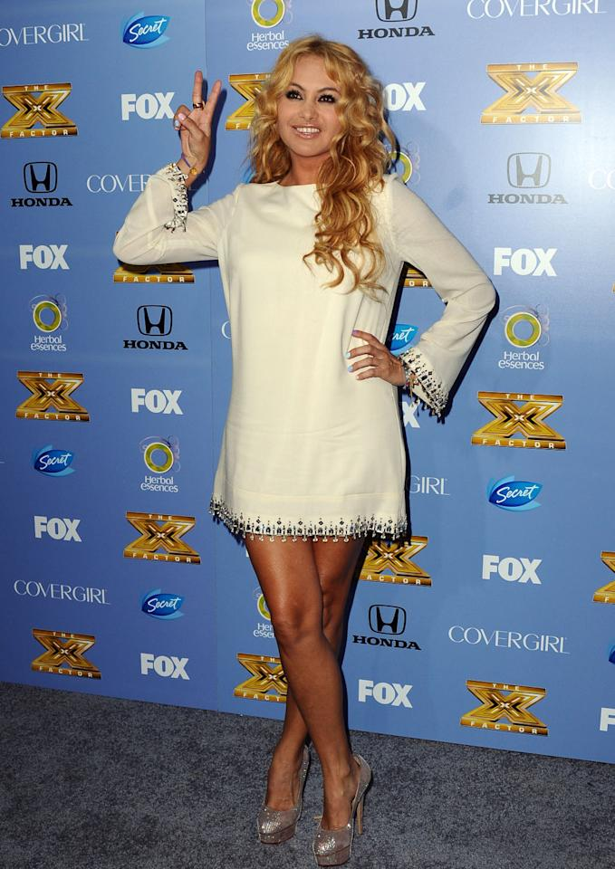 "Paulina Rubio arrives at Fox's ""The X Factor"" Season 3 premiere party at Ciccone Restaurant on September 5, 2013 in West Hollywood, California."
