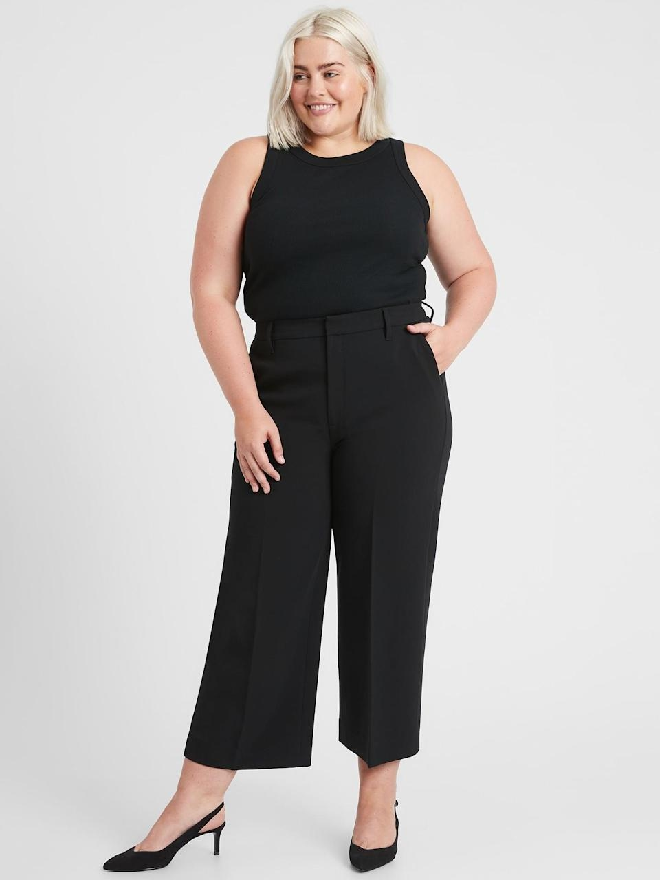 <p>Office chic, walk up to those work from home Zoom meetings just to model these <span>Banana Republic Slim Wide-Leg Cropped Pant</span> ($54, originally $99).</p>