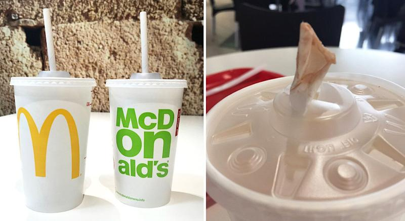 McDonald's is replacing its plastic straws with paper alternatives. [Photo: PA/Twitter]