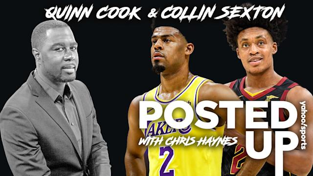 Chris Haynes is joined on Posted Up by Lakers guard Quinn Cook and Cavaliers guard Collin Sexton (Credits: AP, Getty/Michael Wagstaffe/Yahoo Sports)