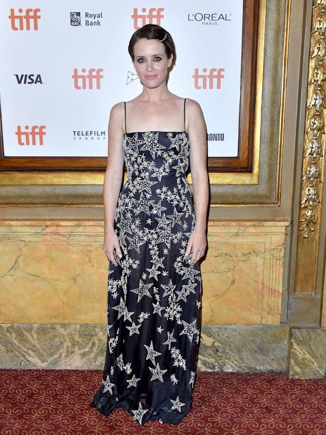 <p>On September 10, actress Claire Foy chose a star-emblazoned dress for the premiere of 'First Man' during Toronto Film Festival. <em>[Photo: Getty]</em> </p>