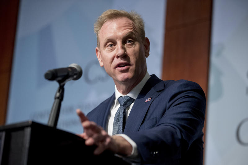 FILE - In this March 20, 2019 file photo, Acting Defense Secretary Patrick Shanahan speaks at the Center for Strategic and International Studies in Washington. Shanahan is set to deliver the commencement address to the 2019 graduating class of the U.S. Naval Academy. The former Boeing executive will speak Friday, May 24, 2019, at the Navy-Marine Corps Memorial Stadium in Annapolis. (AP Photo/Andrew Harnik, File)