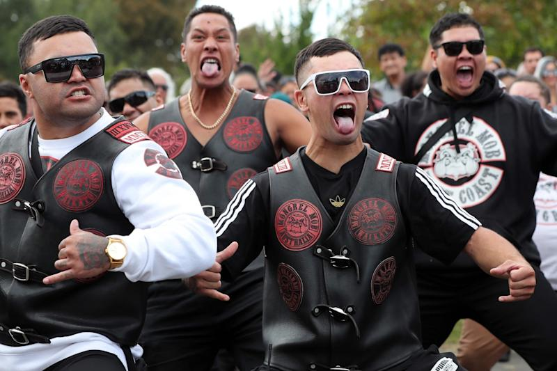 Mongrel Mob members perform the haka outside the Jamia Masjid mosque (AFP/Getty Images)