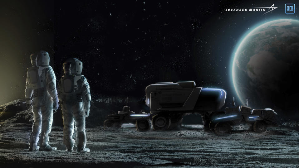 This illustration provided by General Motors and Lockheed Martin in May 2021 depicts astronauts and concepts of lunar rovers on the surface of the moon. On Wednesday, May 26, 2021, Lockheed and GM announced that they would combine their technological and manufacturing expertise to build the electric vehicles for NASA's Artemis program, named after the twin sister of Apollo in Greek mythology. (Lockheed Martin, GM via AP)
