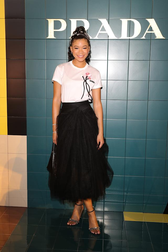 Storm Reid attends Prada Spring/Summer 2020 Womenswear Fashion Show on September 18, 2019 in Milan, Italy. Photo courtesy of Getty Images.