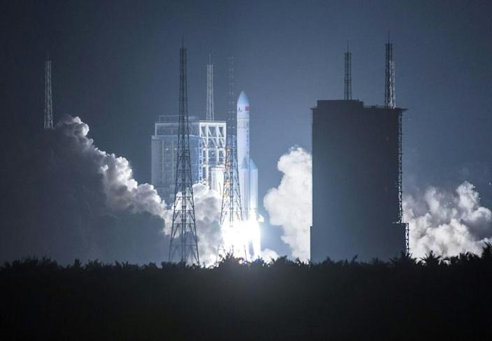 China's launch of its first Long March 5 rocket in November 2016 (pictured) was a leap forward for its ambitious space programme (AFP Photo/STRINGER)