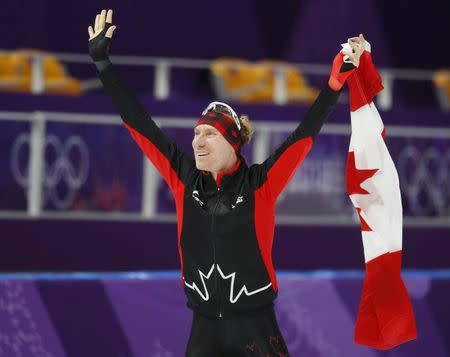 Speed Skating - Pyeongchang 2018 Winter Olympics - Men's 10000m competition finals - Gangneung Oval - Gangneung, South Korea - February 15, 2018 - Ted-Jan Bloemen of Canada celebrates after winning gold. REUTERS/Phil Noble