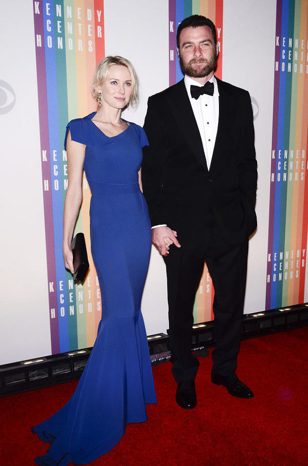 WASHINGTON, DC - DECEMBER 02: Naomi Watts and Liev Schreiber pose for photographers during the 35th Kennedy Center Honors at the Kennedy Center Hall of States on December 2, 2012 in Washington, DC. (Photo by Kris Connor/Getty Images)