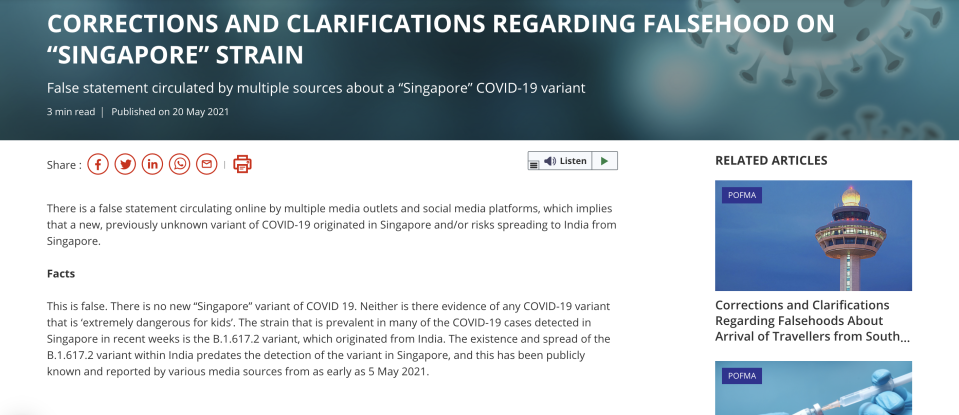 Under the POFMA correction direction, Facebook, Twitter and SPH Magazines are required to carry the Correction Notice to all end-users in Singapore who use Facebook, Twitter and HardwareZone.com. (PHOTO: Screengrab/gov.sg)