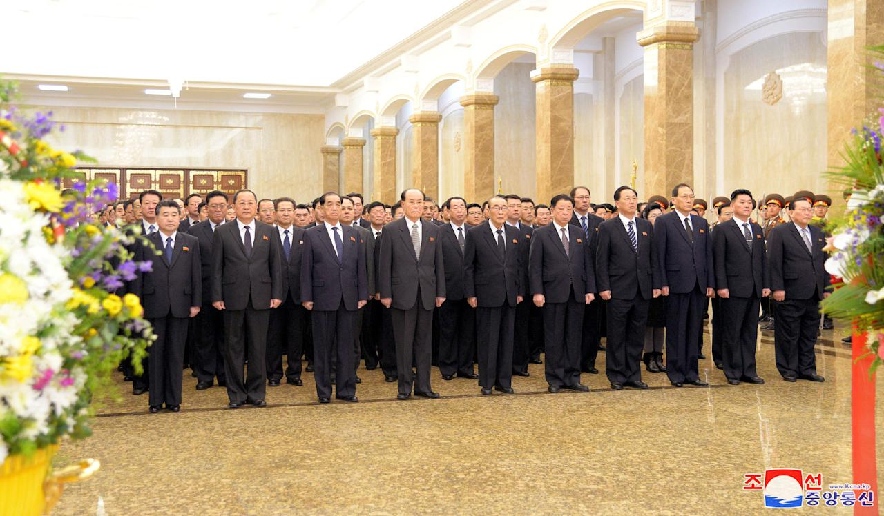 North Korea's government officials attend the birth anniversary of their late leader, Kim Jong Il, at Kumsusan Palace of the Sun in Pyongyang, North Korea February 16, 2018 in this photo released by North Korea's Korean Central News Agency. KCNA via REUTERS ATTENTION EDITORS - THIS PICTURE WAS PROVIDED BY A THIRD PARTY. REUTERS IS UNABLE TO INDEPENDENTLY VERIFY THE IMAGE. NO THIRD PARTY SALES. SOUTH KOREA OUT.