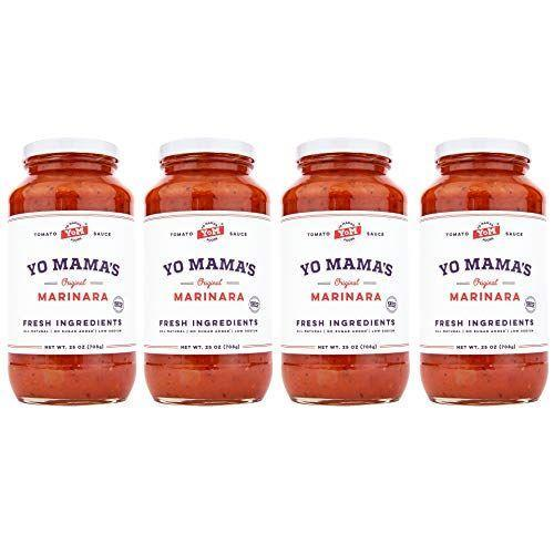"""<p><strong>Yo Mama's Foods</strong></p><p>amazon.com</p><p><a href=""""https://www.amazon.com/dp/B0799Y3JQ1?tag=syn-yahoo-20&ascsubtag=%5Bartid%7C10055.g.32971830%5Bsrc%7Cyahoo-us"""" rel=""""nofollow noopener"""" target=""""_blank"""" data-ylk=""""slk:Shop Now"""" class=""""link rapid-noclick-resp"""">Shop Now</a></p><p>Yo Mama's Sauce has over 1,000 reviews on Amazon with an overall 4.3 out of 5 star rating, and no wonder it does. <strong>We were impressed by its fresh and clean ingredients list, as well as the low sodium count (only 130mg sodium for 1/2 cup of sauce). </strong>Free from added sugars and only 60 calories per serving, this is a no-brainer addition to any meal. </p>"""