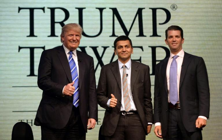 Photo taken in 2014 shows Donald Trump Sr with managing director of the Lodha group, Abhishek Lodha (C), and Donald Trump Jr. during a news conference in Mumbai