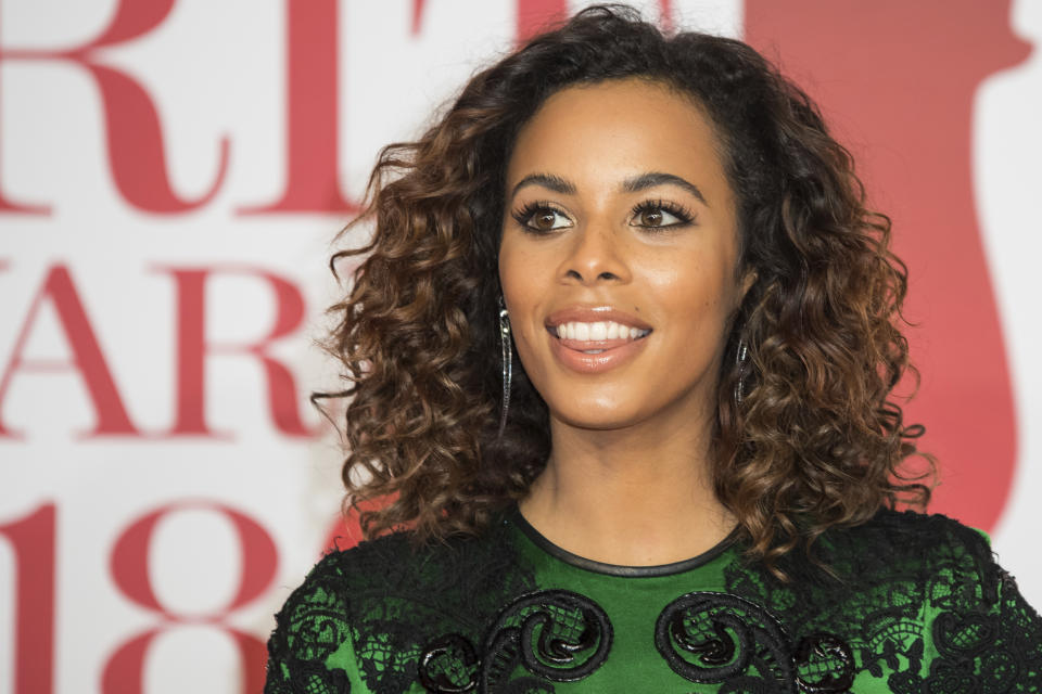 Rochelle Humes poses for photographers upon arrival at the Brit Awards 2018 in London, Wednesday, Feb. 21, 2018. (Photo by Vianney Le Caer/Invision/AP)