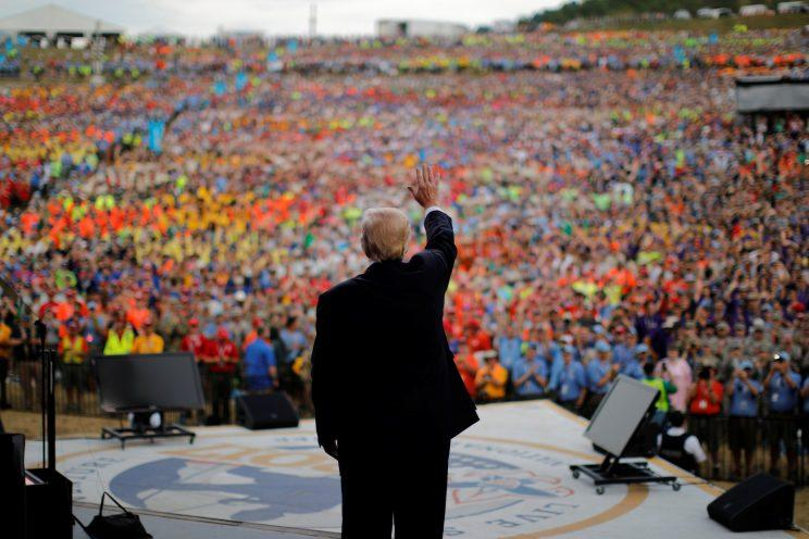 Trump waves after delivering remarks at the 2017 National Scout Jamboree in West Virginia, on Tuesday. (Carlos Barria/Reuters)