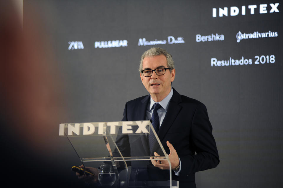 LA CORUÑA, SPAIN - MARCH 13: The president of Inditex, Pablo Isla, is seen during the presentation of the results of the group on March 13, 2019 in La Coruña, Spain. (Photo by M. Dylan/Europa Press via Getty Images)