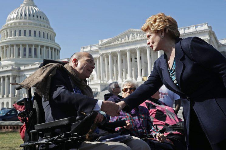 Sen. Debbie Stabenow, D-Mich., right, thanks Kent Keyser following a news conference with people who may be negatively affected by the proposed American Health Care Act, the Republicans' attempt to repeal and replace the Affordable Care Act, March 9, 2017 on Capitol Hill in Washington. (Photo: Chip Somodevilla/Getty Images)