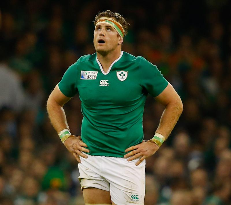 CARDIFF, WALES - OCTOBER 18: Jamie Heaslip of Ireland looks on during the 2015 Rugby World Cup Quarter Final match between Ireland and Argentina at Millennium Stadium on October 18, 2015 in Cardiff, United Kingdom. (Photo by Laurence Griffiths/Getty Images)