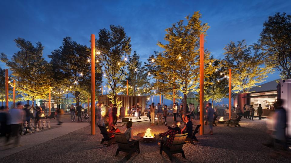 A rendering shows people at an outdoors dining plaza under lights at night, with a small stage and a fire pit