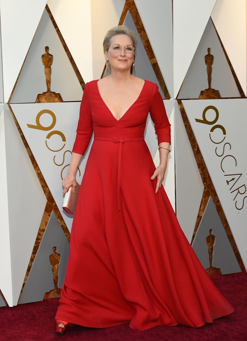 Meryl Streep on the Oscars red carpet.