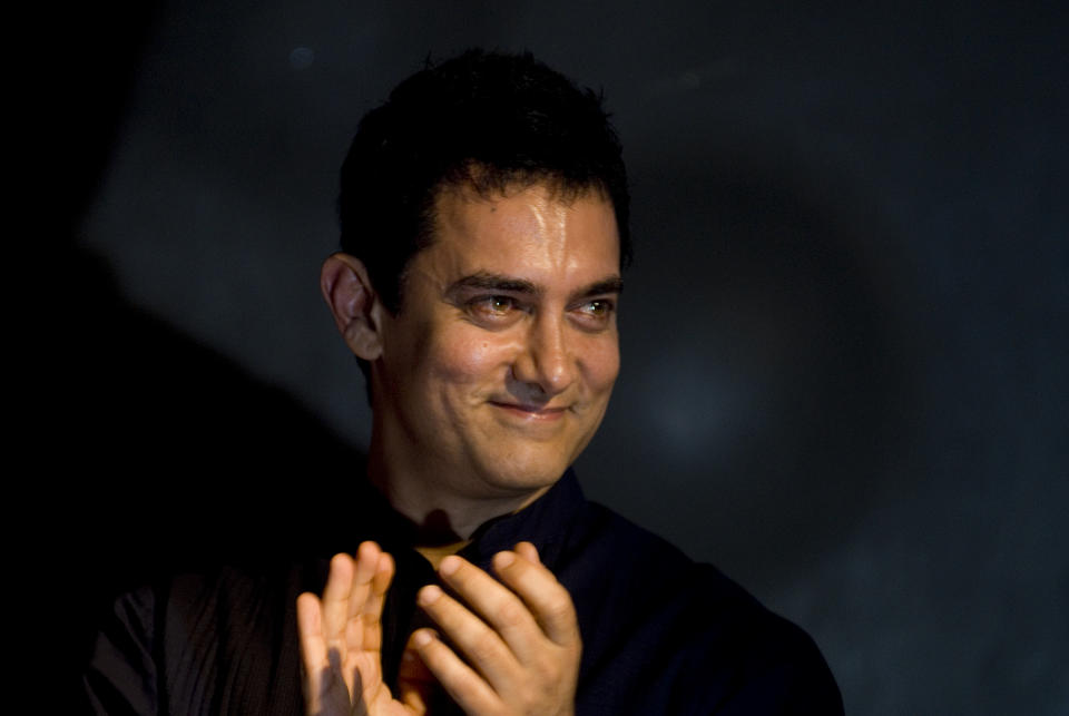 MUMBAI, INDIA - JULY 13 : Aamir Khan attends the music launch of the movie 'Peepli Live'  on July 13, 2010 in Mumbai, India (Photo by Prodip Guha/Getty Images)