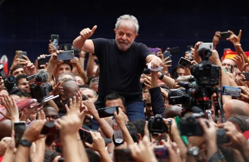 Brazil's left has been weakened by the jailing of former president Luiz Inacio Lula da Silva, shown here on November 9, 2019 following his release from prison