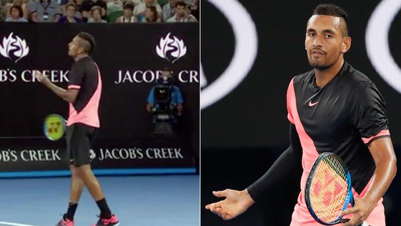 Kyrgios was perplexed by the foot fault calls. Pic: Ch7/Getty