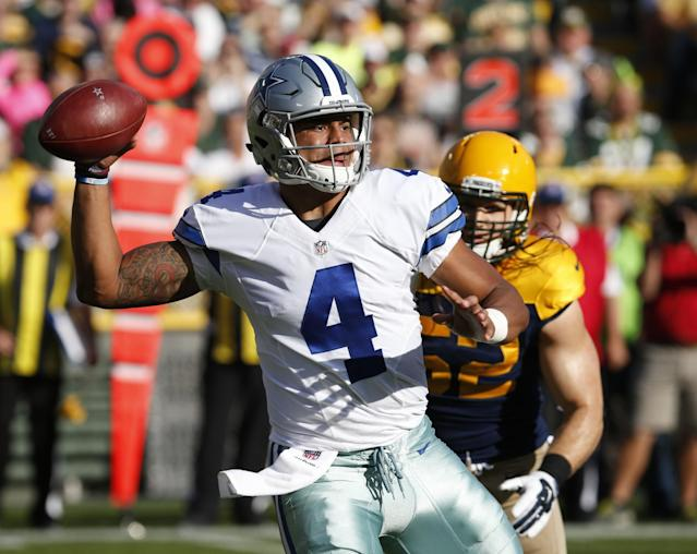 Dak Prescott broke Tom Brady's record for most pass attempts to start a career without an interception. (AP)