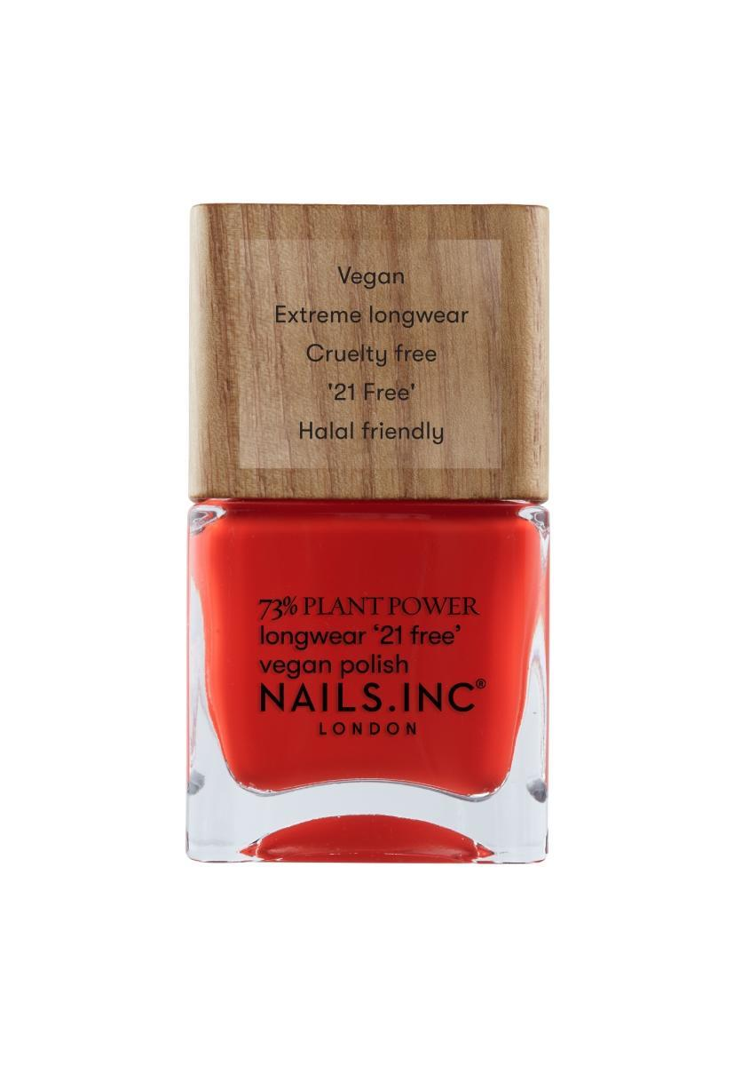 """<p>A vibrant flaming color will activate your five senses this month by stimulating your energy. Also, you'll totally turn heads on the street and during Zoom meetings as people will take notice of your stylish nail color pick. You'll stand out in many good ways, resulting from your cool polish.</p> <p>To shop: $10, <a href=""""https://www.nailsinc.com/en/Eco-Ego-Plant-Power-Vegan-Nail-Polish/m-2856.aspx"""" rel=""""sponsored noopener"""" target=""""_blank"""" data-ylk=""""slk:nailsinc.com"""" class=""""link rapid-noclick-resp"""">nailsinc.com</a></p>"""