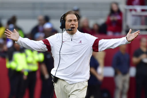 FILE - In this Nov. 9, 2019, file photo, Alabama coach Nick Saban reacts during the first half of the team's NCAA college football game against LSU in Tuscaloosa, Ala. Alabama allowed 18.6 points per game nationally last season, good enough for 13th nationally. But its still the most the Tide has given up since 2007, Sabans first year in Tuscaloosa. (AP Photo/Vasha Hunt, File)