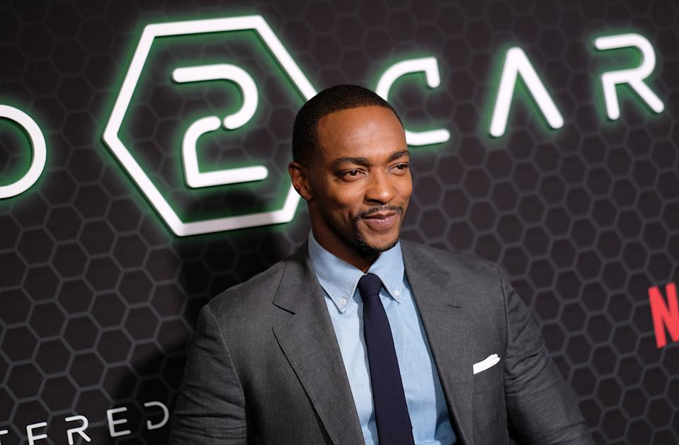 "Anthony Mackie attends Netflix's ""Altered Carbon"" Season 2 Photo Call on February 24, 2020. (Photo by Dimitrios Kambouris/Getty Images)"