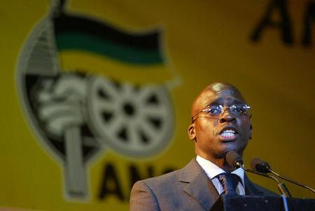 FILE PHOTO: Malusi Gigaba, a former African National Congress Youth League (ANCYL) President,  speaks near Johannesburg's Soweto township, South Africa, August 19, 2004. REUTERS/Juda Ngwenya/File Photo