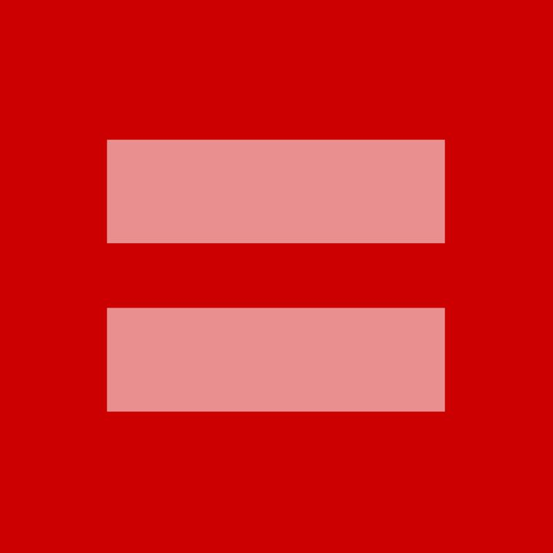 This image released by the Human Rights Campaign shows a redesign of their logo. A square box with thick pink horizontal lines (the mathematical equal symbol) was offered for sharing this week by the Human Rights Campaign as the U.S. Supreme Court took up arguments in key marriage rights cases. The image, replacing profile pictures on Facebook, Twitter, Instagram, Tumblr, Pinterest and elsewhere, is a makeover of the advocacy group's logo, usually a blue background with bright yellow lines. The HRC made it available in red _ for the color of love _ on Monday and estimated tens of millions of shares by Wednesday. (AP Photo/Human Rights Campaign)