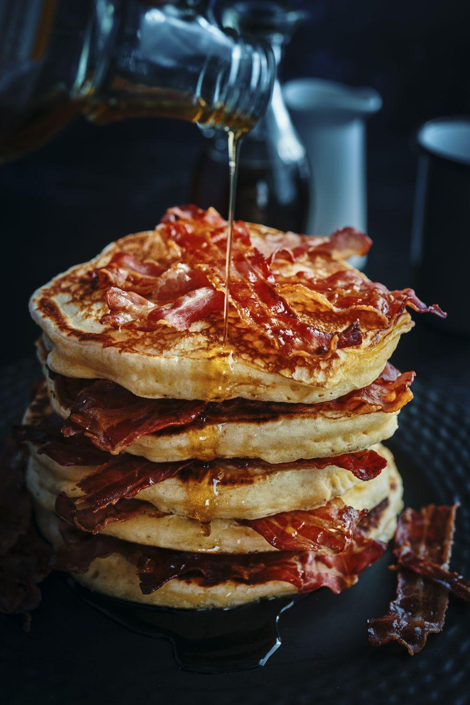 <p>Make your delicious and lovingly-made pancakes into a meal. Serve them with baked beans, a fried egg, some bacon or a roasted portobello mushroom. </p>
