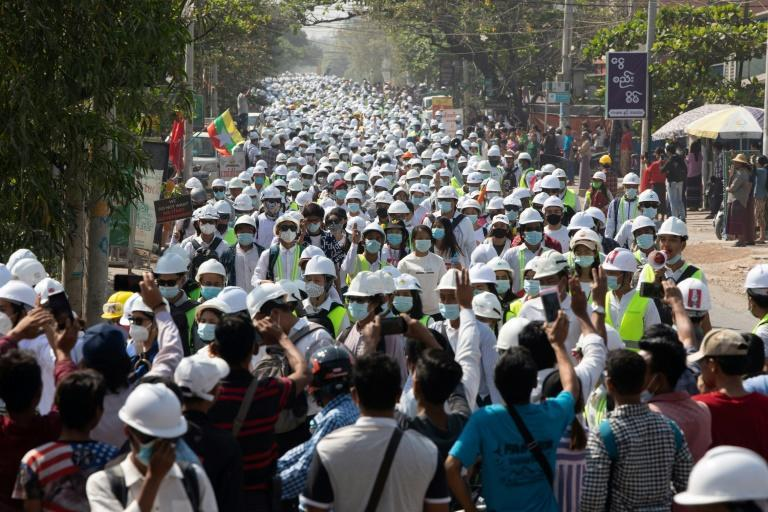 Hundreds of engineers and students take part in a demonstration against the military coup in Myanmar's second-largest city Mandalay on March 5, 2021