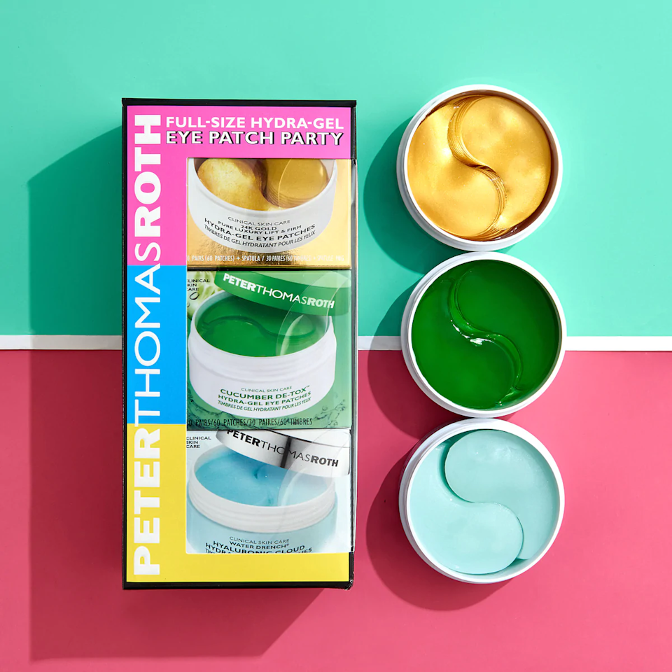 "<br><br><strong>Peter Thomas Roth</strong> Full-Size Hydra Gel Eye Patch Party, $, available at <a href=""https://go.skimresources.com/?id=30283X879131&url=https%3A%2F%2Fwww.sephora.com%2Fproduct%2Fpeter-thomas-roth-full-size-hydra-gel-eye-patch-party-P461489%3Ficid2%3Dproducts%2520grid%3Ap461489"" rel=""nofollow noopener"" target=""_blank"" data-ylk=""slk:Sephora"" class=""link rapid-noclick-resp"">Sephora</a>"