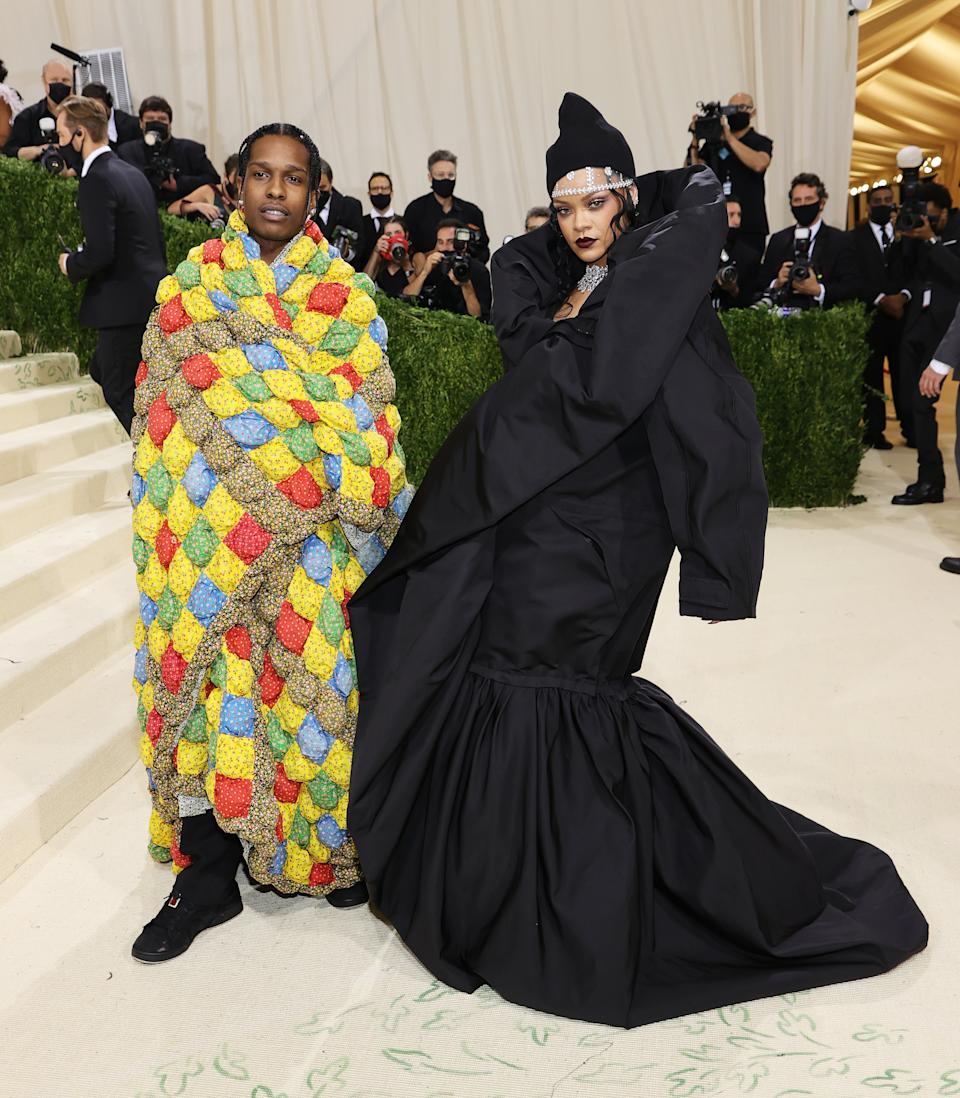 A$AP Rocky and Rihanna attend The 2021 Met Gala Celebrating In America: A Lexicon Of Fashion at Metropolitan Museum of Art on September 13, 2021 in New York City. (Getty Images)