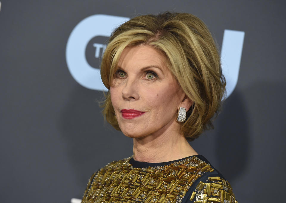 FILE - Christine Baranski arrives at the 25th annual Critics' Choice Awards in Santa Monica, Calif. on Jan. 12, 2020. The Emmy- and Tony-winning actor is donating three custom-made Bob Mackie gowns for an online charity auction on Wednesday. (Photo by Jordan Strauss/Invision/AP, File)