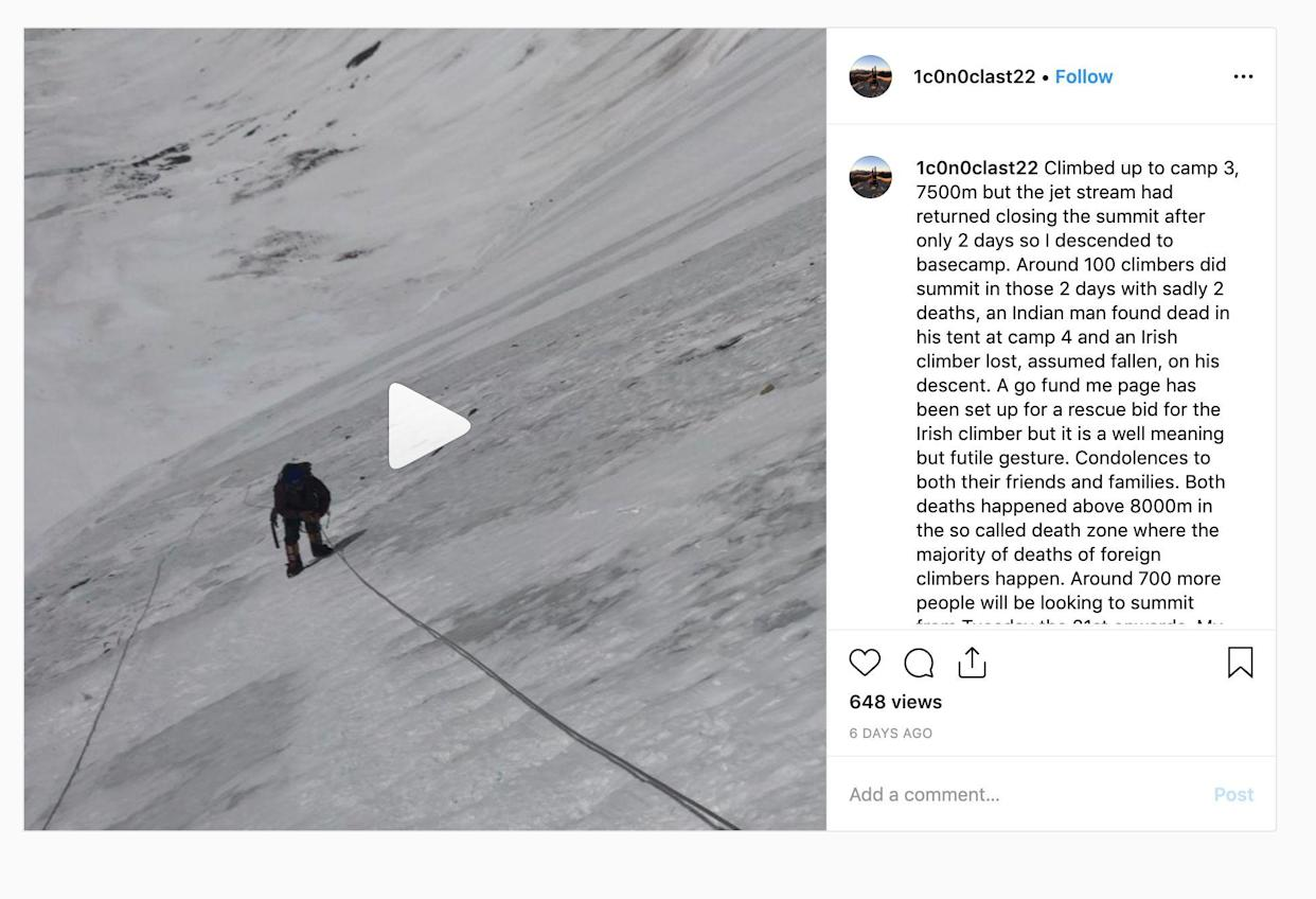 Mr Fisher had posted his concerns about the overcrowded slopes in a post on Instagram (Picture: Instagram/Robin Haynes Fisher)