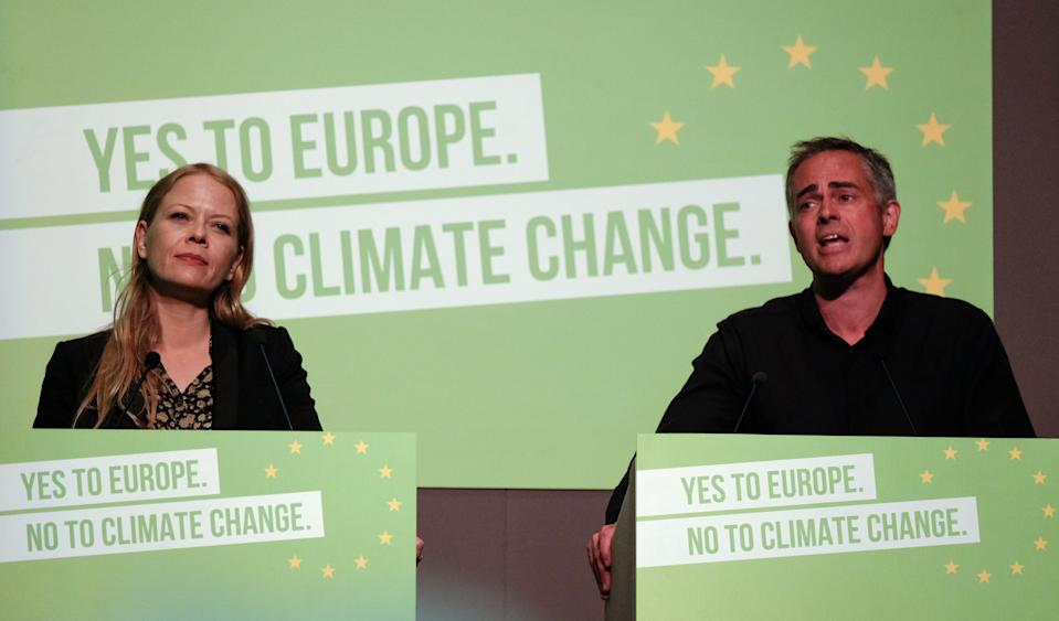 SCARBOROUGH, ENGLAND - JUNE 08: Green Party Co-Leader and Member of the London Assembly Sian Berry and Green Party Co-Leader Jonathan Bartley deliver their speech during the Green Party Spring conference held at the Scarborough Spa Complex on June 08, 2019 in Scarborough, England. Around 600 Green Party delegates from across the UK attended the conference which comes after recent success in the local elections in May where the party gained nearly 200 new councillors and saw its number of MEP's rise from three to seven. (Photo by Ian Forsyth/Getty Images)