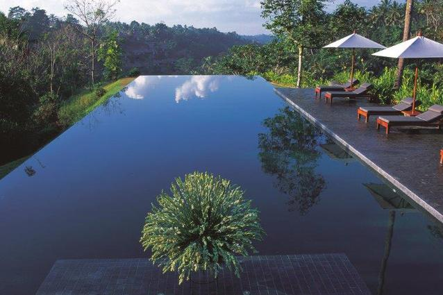 Infinity pool at Alila Ubud, Bali. This hotel is located high in the central foothills of Bali. Its deep-green infinity pool not only blends into the lush landscape but almost seems to extend out right over the edge of the hill. (www.alilahotels.com/ubud)