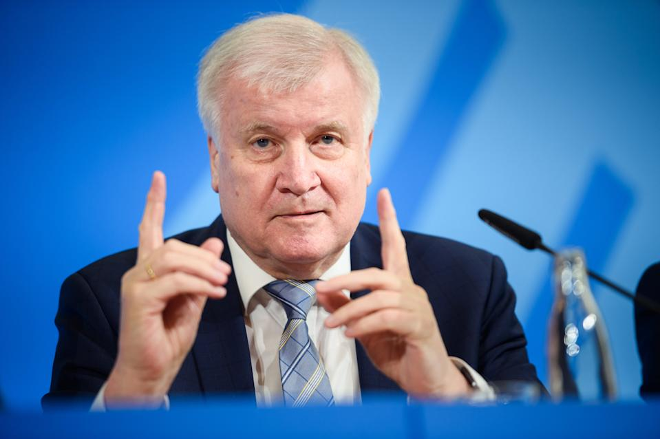 17 December 2019, Berlin: Horst Seehofer (CSU), Federal Minister of the Interior, Building and Home Affairs, speaks at a joint press conference with the heads of the Federal Office for the Protection of the Constitution and the Federal Criminal Police Office on the reorganization of the security authorities. Photo: Gregor Fischer/dpa (Photo by Gregor Fischer/picture alliance via Getty Images)