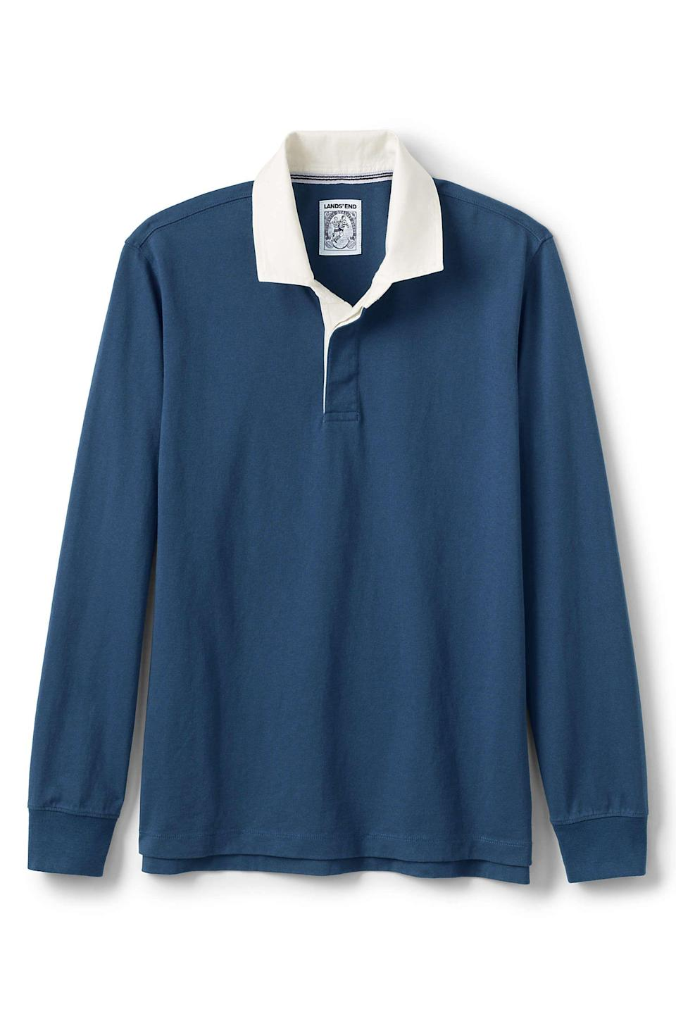 """<p><strong>'lands'' end'</strong></p><p>landsend.com</p><p><strong>$69.95</strong></p><p><a href=""""https://go.redirectingat.com?id=74968X1596630&url=https%3A%2F%2Fwww.landsend.com%2Fproducts%2Fmens-long-sleeve-stripe-rugby-shirt%2Fid_325595&sref=https%3A%2F%2Fwww.esquire.com%2Fstyle%2Fmens-fashion%2Fg28074063%2Fbest-rugby-shirts%2F"""" rel=""""nofollow noopener"""" target=""""_blank"""" data-ylk=""""slk:Shop Now"""" class=""""link rapid-noclick-resp"""">Shop Now</a></p>"""