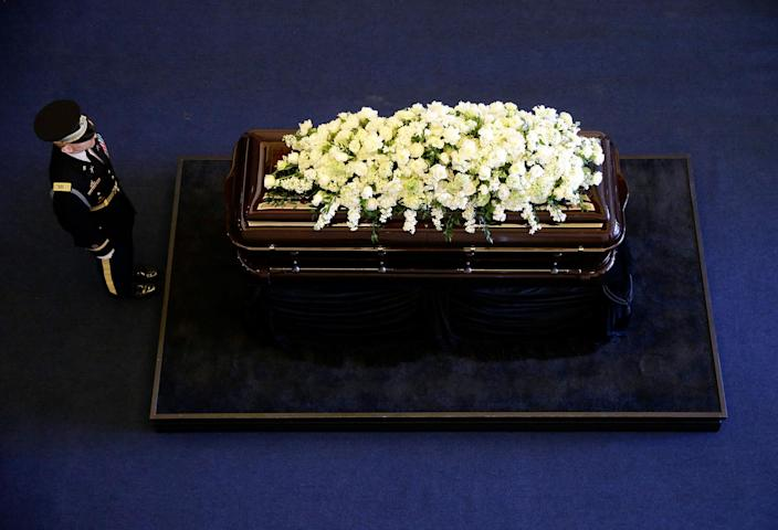 <p>MAR. 9, 2016 — The casket of Nancy Reagan rest at the Ronald Reagan Presidential Library in Simi Valley, Calif. (Jae C. Hong/AP, Pool) </p>
