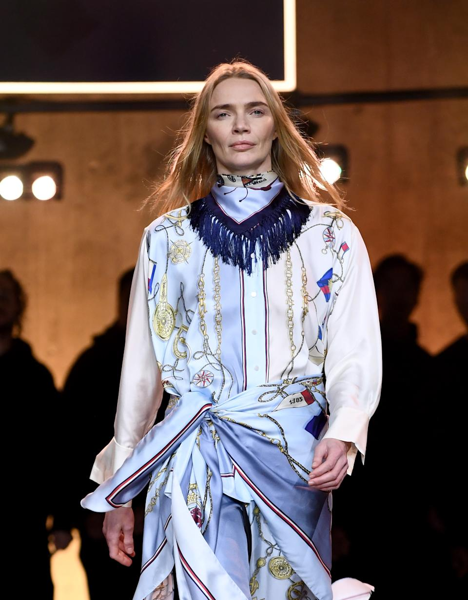 Jodie Kidd walks the runway at the Tommy Hilfiger show during London Fashion Week. (Getty Images)