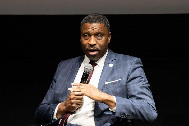 PHOTO: In this Aug. 2, 2018, file photo, President/CEO of the NAACP Derrick Johnson speaks onstage at the ICON MANN And CAA In Conversation With Derrick Johnson at CAA in Los Angeles. (Earl Gibson III/Getty Images, FILE)
