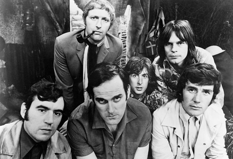 The six members of the Monty Python team, 1969. Left to right: Terry Jones, Graham Chapman (1941 - 1989), John Cleese, Eric Idle, Terry Gilliam and Michael Palin. (Photo by Michael Ochs Archives/Getty Images)