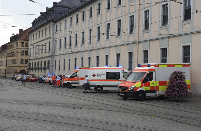 Emergency services attend the scene of an incident in Wuerzburg, Germany, Friday June 25, 2021. German police say several people have been injured in an incident in the southern city of Wuerzburg. (Carolin Gi'ibl/dpa via AP)