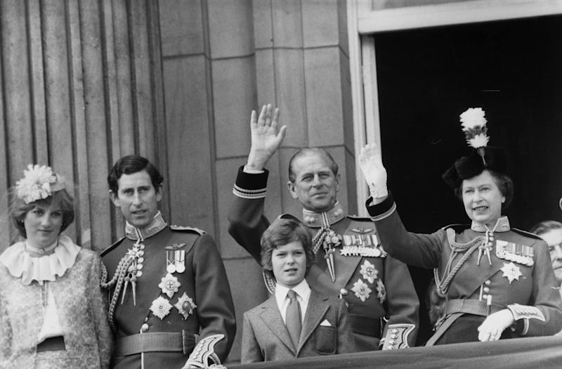 13th June 1981: Lady Diana Spencer (1961 - 1997), Prince Charles, the Duke of Edinburgh and Queen Elizabeth II on the balcony of Buckingham Palace in London after the Trooping the Colour ceremony. (Photo by Central Press/Getty Images)